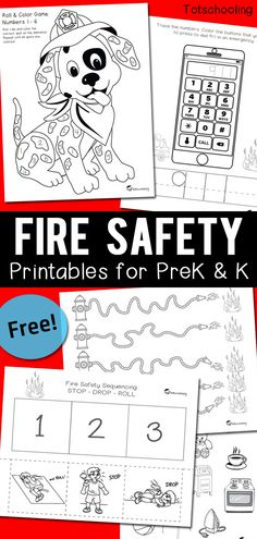 FREE printable Fire Safety pack including Stop, Drop & Roll Sequencing, dialing 911 in an emergency, objects that are safe to touch or not, plus a fun Roll & Color number game with a dalmatian dog, and some pre-writing practice! Great worksheets for PreK