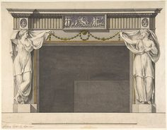 Robert Adam (British, 1728–1792). Design for a Chimney Piece in the Gallery, now DIning Room, Harewood House, Yorkshire (Elevation), ca. 1769. The Metropolitan Museum of Art, New York. Harris Brisbane Dick Fund, 1934 (34.78.2(7))