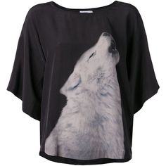 CLOSED wolf graphic T-shirt (1.050 BRL) ❤ liked on Polyvore featuring tops, t-shirts, shirts, blusas, black, round neck t shirt, black silk shirt, silk shirt, silk t shirt and wolf shirt