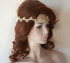 Wedding Gold Rhinestone Headband Bridal Hair Accessory by ADbrdal
