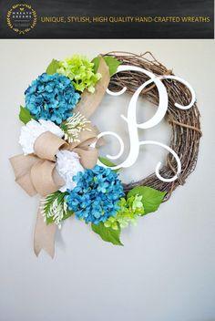 Blue Hydrangea Grapevine Wreath with Burlap. Year Round Wreath. Spring Wreath…