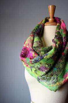Nuno felted scarf wool silk by VitalTemptation , Etsy, via Flickr
