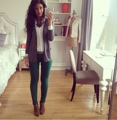 Fall inspiration. Love the green denim with the gray! #fall outfit