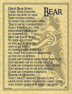 Bear Totem Prayer BOS Book of Shadows Page Wiccan Witchcraft Magick CHC in Collectibles, Religion & Spirituality, Wicca & Paganism Bear Totem, Spirit Bear, Bear Spirit Animal, Bear Animal, Animal Spirit Guides, Native American Wisdom, American Spirit, Pagan Witch, Witches