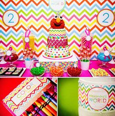 Chevron rainbow/Elmo party... this might be my entire inspiration!!  @Heather Creswell Lightsey!!