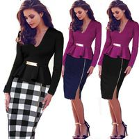 2015 Women Elegant Ruffles Waist Long Sleeve Patchwork Tunic Work Business Casual Party Bodycon Pencil Sheath Dress 068 S-2XL