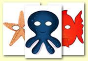 Under the Sea Role Play Masks - Fish, starfish and octpopus masks