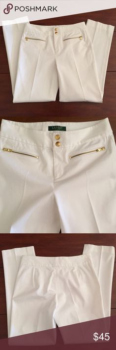 "Pants by Ralph Lauren Size 2 Petite Ralph Lauren Size 2 Petite Straight Leg Pants in White with Two Front Gold Zipper Pockets and Two Gold Snap Closures Approx Meas: Waist: 14"" Flat Across, Hips: 18"" Flat Across, Inseam: 28"", Full Length: About 36""/37"". Leg Opening: 6.5"" 98% Cotton 2% Spandex Good Stretch In These. Excellent Condition! Ralph Lauren Pants Straight Leg"