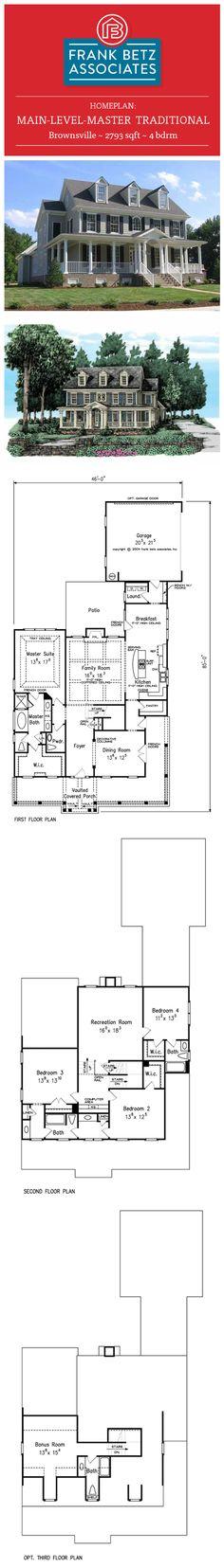 Brownsville: 2793 sqft, 4 bdrm, main-level-master Traditional English house plan design by Frank Betz Associates Inc.
