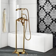 Art Deco/Retro Floor Mounted Floor Standing with Ceramic Valve Three Handles One Hole for Ti-PVD , Bathtub Faucet 4253157 2017 – $536.24
