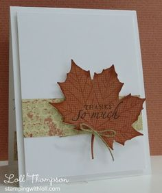 Fall Thank You card with maple leaf die cut