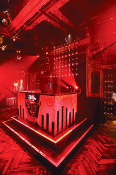 Great DJ booth, ideas for adding design and texutre to a booth as well as clever use of steel deck to frame it.