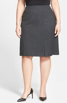 Sejour Herringbone Stripe Suit Skirt (Plus Size) available at #Nordstrom