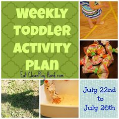 Weekly Toddler Activity Play, July 22nd to 26th, 2013 from Eat Clean, Play Hard. A complete activity plans for Toddlers at home!