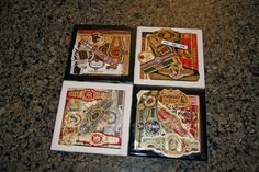 Another Idea for Cigar Bands - Cigar coaster, using mod podge and tile squares