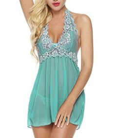 Bluetime Womens Lace Babydoll Sleepwear Halter Nightwear Sexy Lingerie Outfits #Lingerie #Sexy #Hot