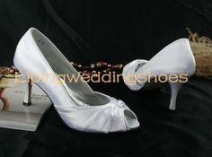 simple white satin wedding shoes peep toe 7 cm high heels via Etsy