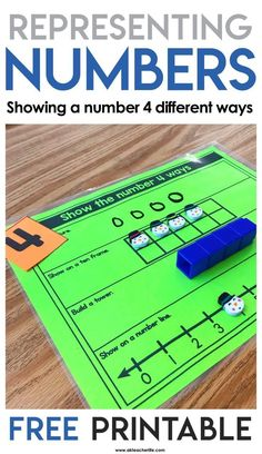 Show the Number 4 Ways – Number Sense Math Game The name of this FREE hands-on math activity is Show Me 4 Ways. Students pick a number and show 4 different ways to make that number using a number line, a ten frame, a cube tower and drawing a picture. Numbers Kindergarten, Math Numbers, Preschool Math, Math Classroom, Teaching Math, Math Activities, Decomposing Numbers, Math Games, Math Resources