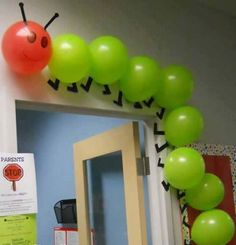 """Using balloons to create a classroom caterpillar is a creative idea. This would be great to use for """"The Very Hungry Caterpillar"""" by Eric Carle. Hungry Caterpillar Party, Caterpillar Craft, Caterpillar Bulletin Board, Counting Caterpillar, The Very Hungry Caterpillar Activities, Classroom Door, Eyfs Classroom, Future Classroom, Classroom Themes"""
