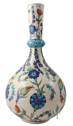 Iznik Design Ceramic Vase - Lale and Karanfil yurdan.com