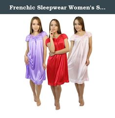 Frenchic Sleepwear Women's Silky Soft Lace-Accent Cap Sleeve Nightgowns Pajamas Pack of 1 or 3(M-XXXL) (Medium, Red, Lilac, Pink). As much as your other half might desire it, you really are not into slipping yourself into sultry lingerie every night, with the bustiers, and the garters, and the G-string panties. Truth be told, you'd be happy in your flannels. But you're willing to compromise. Keep the sexy alive while relishing the comfort you want with these nighties by Frenchic. Soft and...