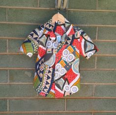 Boys Shirt size 6 years,  boys cotton top, Aboriginal art printed shirt, boys button up shirt, shirts tops boys, bright boys shirt, by Birdieways on Etsy