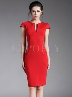 Shop for high quality Brief High Waist Red Slim Pocket Sheath Dress online at cheap prices and discover fashion at Ezpopsy.com
