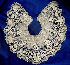 Superb Large Antique Hand Made Clones Irish Crochet Lace Collar Many 3D Motifs | eBay