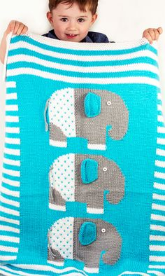 Free Knitting Pattern for Baby Elephants Blanket - Blanket with adorable baby pachyderms in intarsia with sewn on ears. Designed by Amy Bahrt for Cascade Yarns. Size: 30 wide x 34 high. Free Knitting Pattern for Baby Elephants Blanket Kids Blankets, Baby Boy Blankets, Knitted Baby Blankets, Baby Knitting Patterns, Baby Patterns, Free Knitting, Knitting Toys, Knitting Ideas, Sewing Patterns