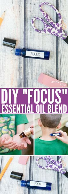 """This simple DIY """"Focus"""" essential oil blend has done wonders for helping my kids focus, concentrate and not stress during school. I'm pretty sure their teachers love it too! This is all-natural and easy to make, plus it's great for ADD, ADHD, and autism."""