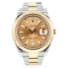 Mens Rolex DateJust II 116333 41mm 18k Yellow Gold & Stainless Steel Wrist Watch #Rolex #LuxurySportStyles