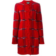 Boutique Moschino Checked Knitted Coat (20,135 PHP) ❤ liked on Polyvore featuring outerwear, coats, checked coat, checkered coat, wool blend coat, boutique moschino and red coat
