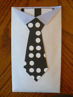 Bits Of Everything: Quick Father's Day Idea - (Use a regular envelope: cut to create collar; scrapbook paper tie; candy bar inside.)