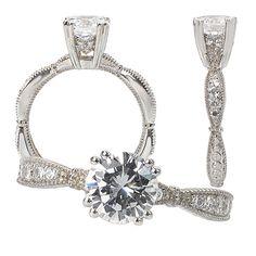18k gold scalloped design diamond engagement ring semi-mount for 6.5mm round center