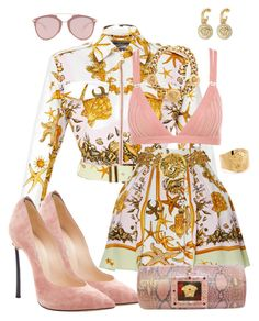 A fashion look from October 2017 featuring pattern jacket, print skirt and pointed toe stilettos. Browse and shop related looks. Stage Outfits, Kpop Outfits, Girly Outfits, Classy Outfits, Stylish Outfits, Girls Fashion Clothes, Teen Fashion Outfits, Girl Fashion, Fashion Looks