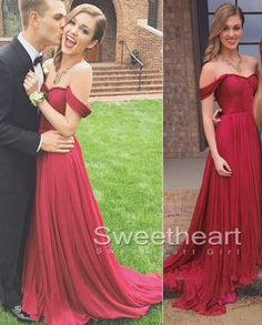 Red Prom Dresses, A-line Red Sweetheart Chiffon Long Prom Dresses, Formal Dress
