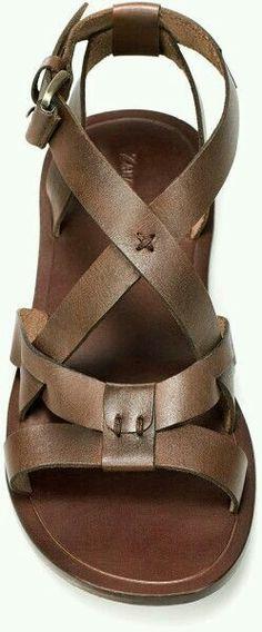 c4e88dcbc66807 Zara Leather Roman Sandal in Brown for Men