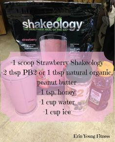 honey 1 cup water 1 cup ice Blend together & enjoy! Shakeology Shakes, Beachbody Shakeology, Herbalife Shake, Smoothie Drinks, Fruit Smoothies, Smoothie Recipes, Beach Body Shakes, Strawberry Shakeology Recipes, 21 Day Fix Diet