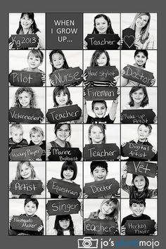 Kindergarten class photo collage. Kids all decided what they want to be when they grow up and then photograhed. Images were used to create a collage style class photo. Theme inspired by Christine Kay photography
