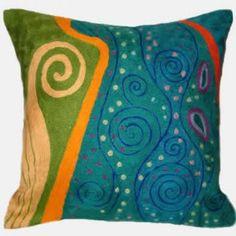 Contemporary Throw Pillows – Klimt Peacock Swirl
