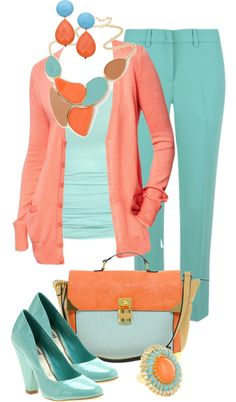 """Coral & Turquoise"" by sagramora on Polyvore"