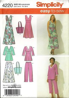 Simplicity 4220 Misses Dress, Skirt, Cropped Pants, Tunic, Bag Sewing Pattern Size 8, 10, 12, 14, 16 Summer Fashions Uncut