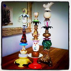 Poppyseed Creative Living: Trinkets and Treasures Home Crafts, Diy And Crafts, Arts And Crafts, Eclectic Candles, Recycled Art, Repurposed, Diy Candle Holders, Vintage Candles, Handmade Home Decor