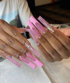 Acrylic Nails Coffin Pink, Long Square Acrylic Nails, Acrylic Nail Tips, Summer Acrylic Nails, Acrylic Nail Designs, Best Nail Designs, Exotic Nail Designs, Drip Nails, Aycrlic Nails