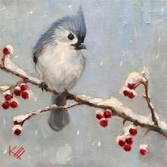 "Daily+Paintworks+-+""Blue+tufted+titmouse+&+berries""+-+Original+Fine+Art+for+Sale+-+©+Krista+Eaton"