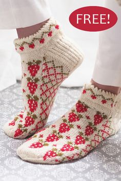 Free Knitting Pattern for Strawberry Socks - Anklet socks with strawberries and trellis in stranded colorwork with a cute picot edged cuff. Knit cuff down with heel flap. A kit is also available. Fingering weight yarn. Designed by Minna Metsänen for Novita.