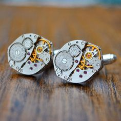 Watch Cufflinks, Watch Movement Cufflinks, Oval With Rubies, Steampunk Cufflinks, Mens Gift, Cuff Links, Watch Cuff Links, Clock Cufflink Valentine Day Gifts, Valentines, Watch Cufflinks, Ruby Jewel, Wedding Cufflinks, Groomsman Gifts, Groomsmen, Unique Gifts, Steampunk