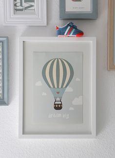 Kinderzimmerdekoration - Poster Kinderzimmer Heißluftballon - ein Designerstück von Heimwerk_Design bei DaWanda