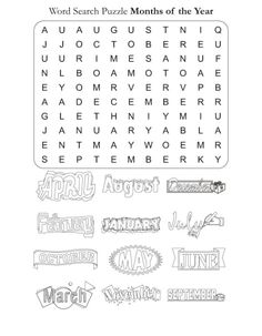 Word Search Puzzle Months of the Year | Download Free Word Search Puzzle Months of the Year for kids | Best Coloring Pages