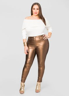5-Pocket Metallic Skinny Jean - Ashley Stewart